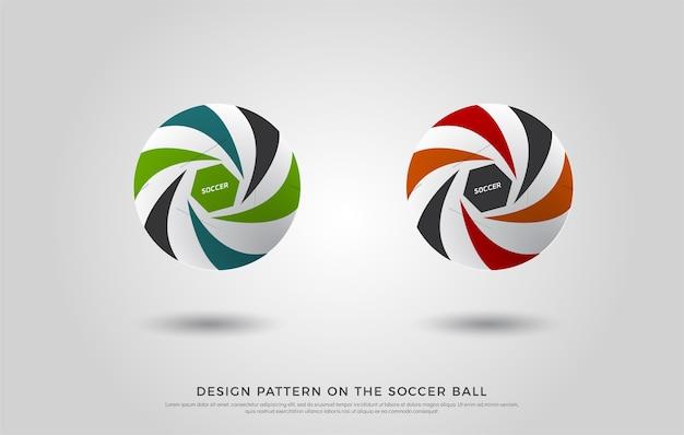 Modèle de football sur le ballon de football. vert, orange et bleu Vecteur Premium