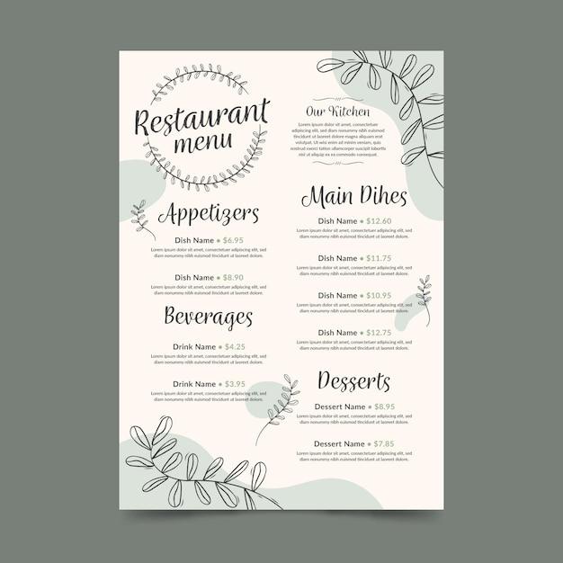 Modèle De Format Vertical De Menu De Restaurant Numérique Avec Feuilles Vecteur Premium
