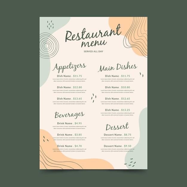 Modèle De Format Vertical De Menu De Restaurant Numérique Memphis Vecteur Premium