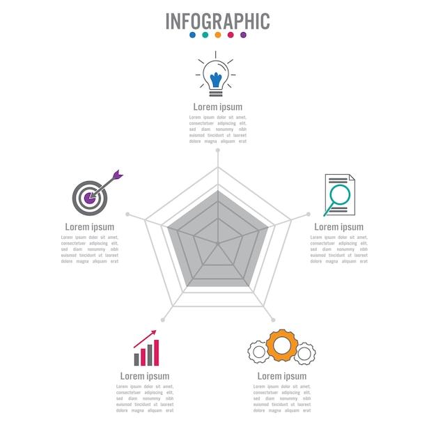Modèle de forme polygonale entreprise infographique Vecteur Premium