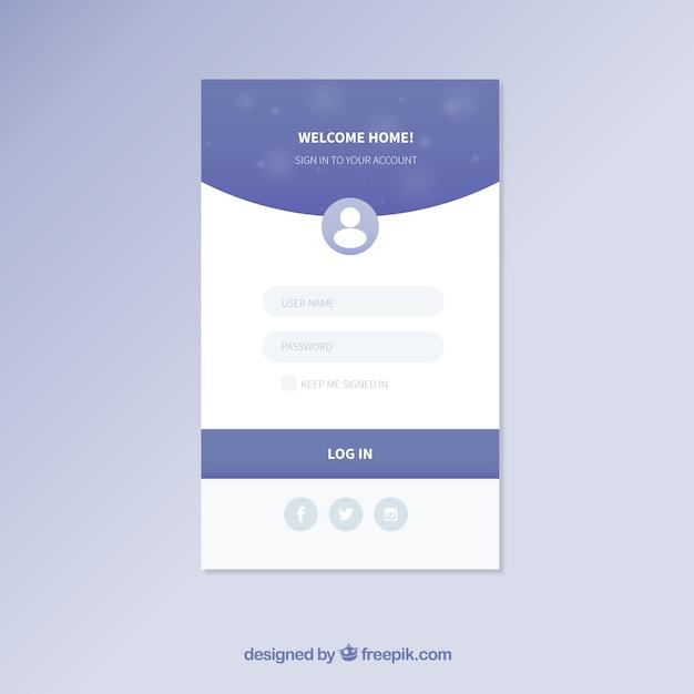 Modèle de formulaire de connexion bleu et blanc Vecteur gratuit