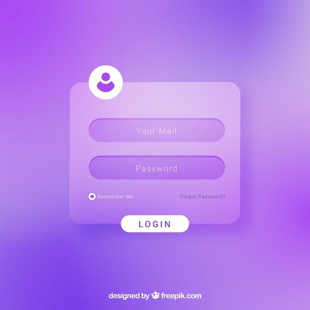 Modèle de formulaire de connexion pourpre Vecteur gratuit
