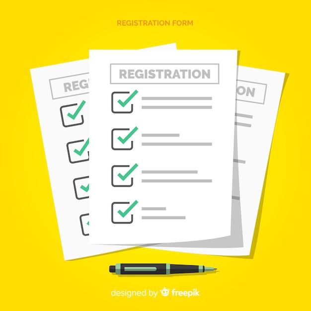 Modèle De Formulaire D'inscription Avec Un Design Plat Vecteur gratuit