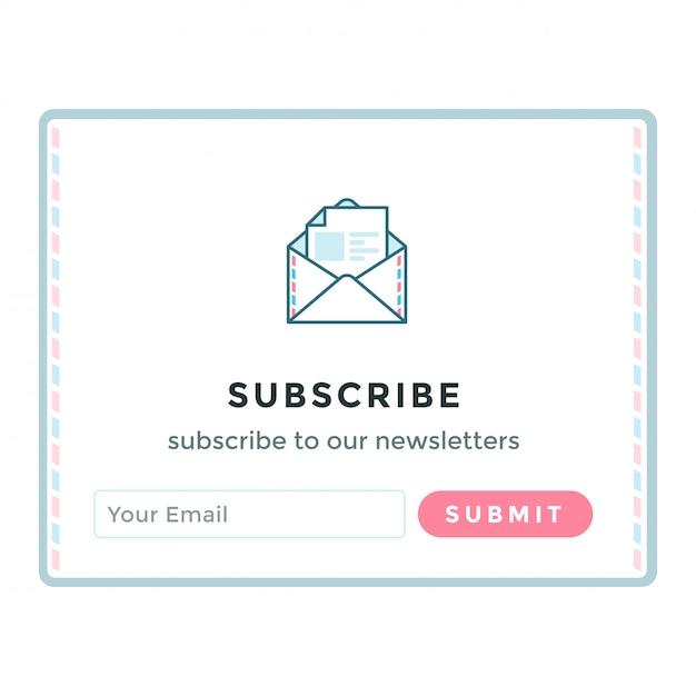 Modèle de formulaire d'inscription par courrier électronique. Vecteur Premium