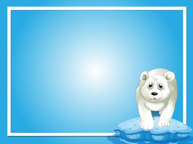 Modèle de frontière avec l'ours polaire sur la glace Vecteur Premium