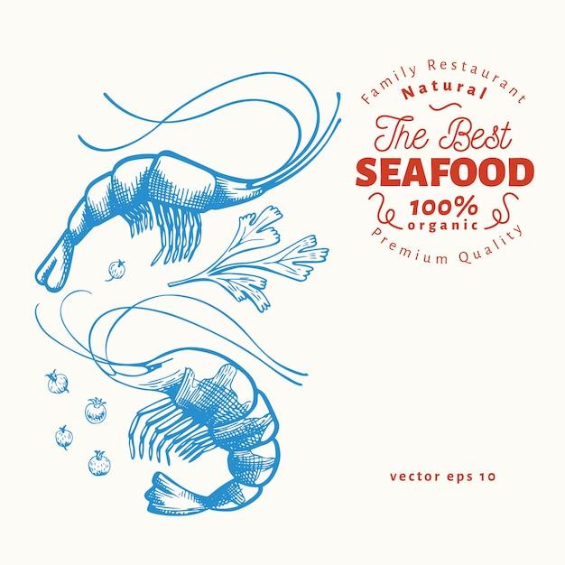 Modèle de fruits de mer dessinés à la main. Vecteur Premium