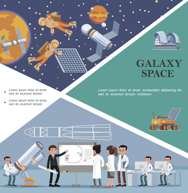Modèle De Galaxie Plate Avec Des Scientifiques Dans L'observatoire Des Astronautes Du Planétarium De La Lune Rover Fixent Le Satellite Dans L'espace Extra-atmosphérique Vecteur gratuit