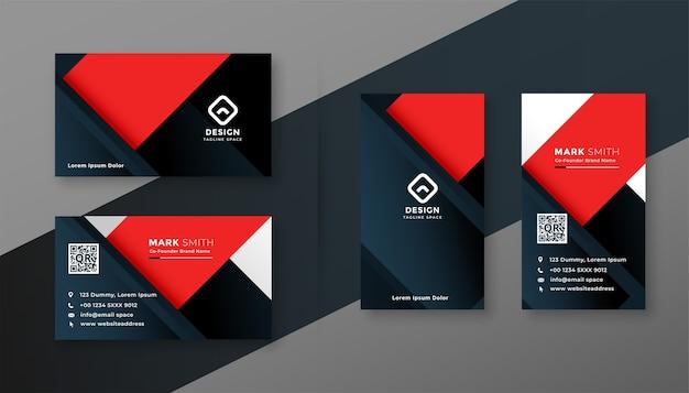 Modèle Géométrique De Carte De Visite Moderne Rouge Et Noir Vecteur gratuit