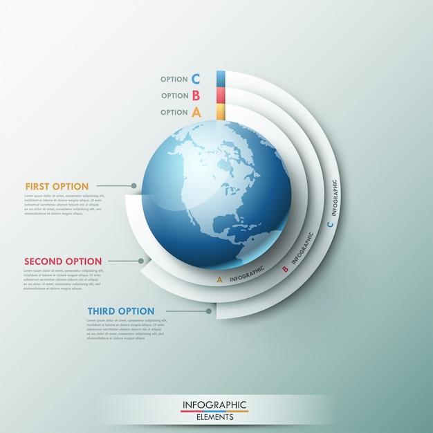 Modèle global d'infographie moderne pour 3 options Vecteur Premium