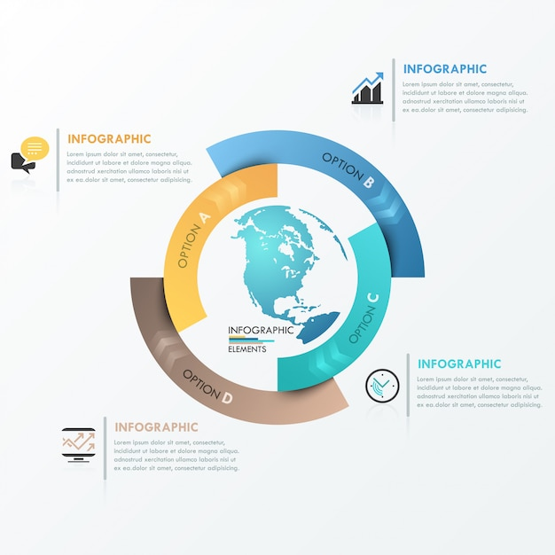 Modèle global d'infographie moderne pour 4 options Vecteur Premium