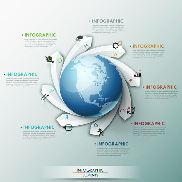 Modèle global d'infographie moderne Vecteur Premium