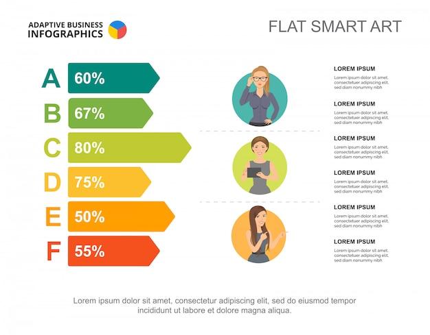 Modèle de graphique en pourcentage de six options pour la présentation | Télécharger des ...