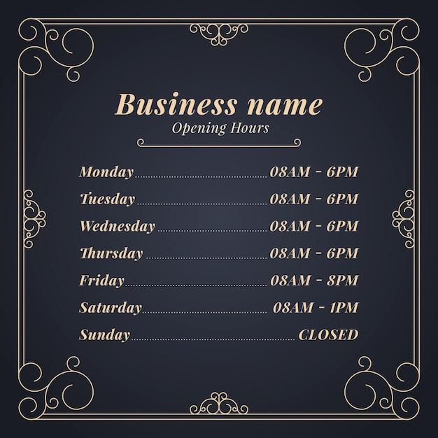 Modèle D'heures D'ouverture De L'entreprise Vecteur gratuit