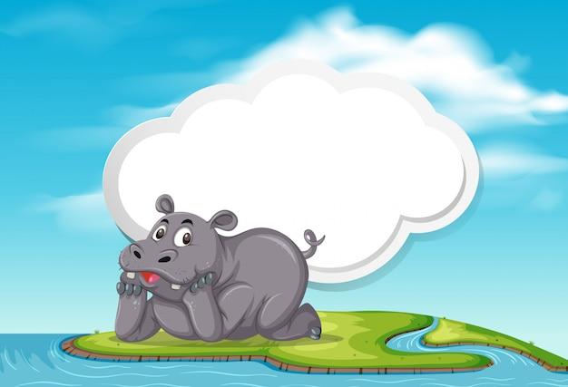 Un Modèle D'hippopotame Dans La Nature Vecteur Premium