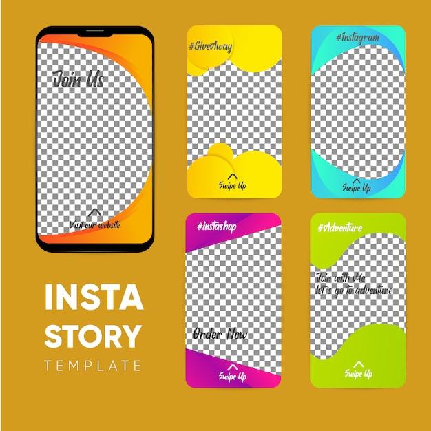 Modèle d'histoire instagram, collection d'histoires Vecteur Premium