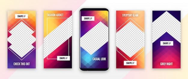 Modèle d'histoire instagram - conception colorée de la couverture de l'histoire modifiable pour les photos Vecteur Premium