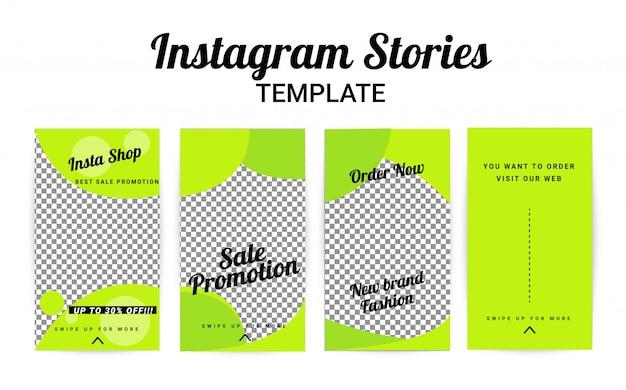 Modèle d'histoire instagram, ensemble d'histoires Vecteur Premium