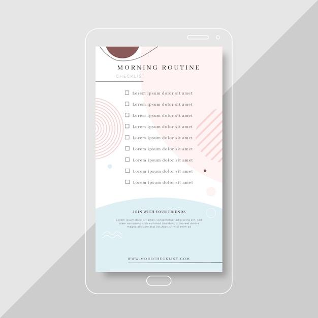 Modèle D'histoire Instagram De Liste De Contrôle De Routine Matinale Vecteur gratuit