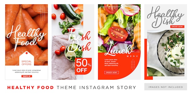 Modèle d'histoire instagram pour une alimentation saine Vecteur Premium
