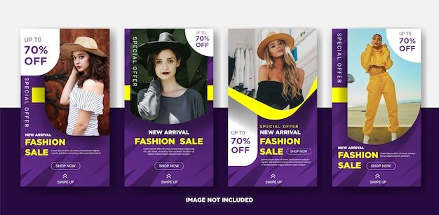 Modèle d'histoire instagram pour les ventes de mode Vecteur Premium
