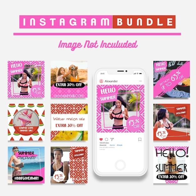 Modèle d'histoire de mode instagram d'été Vecteur Premium
