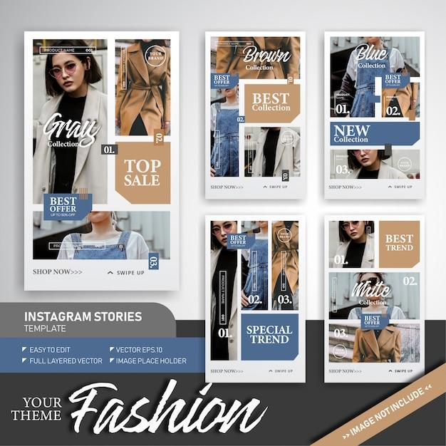 Modèle d'histoire sur la tendance et la vente sur instagram Vecteur Premium