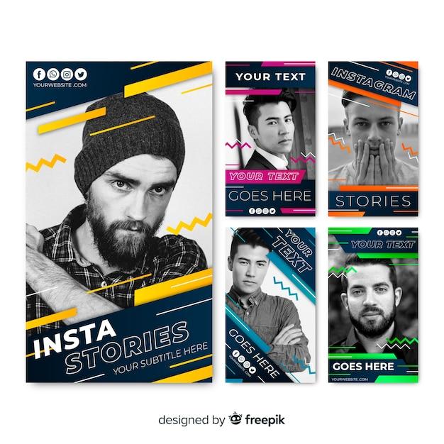 Modèle d'histoires instagram abstraites Vecteur gratuit