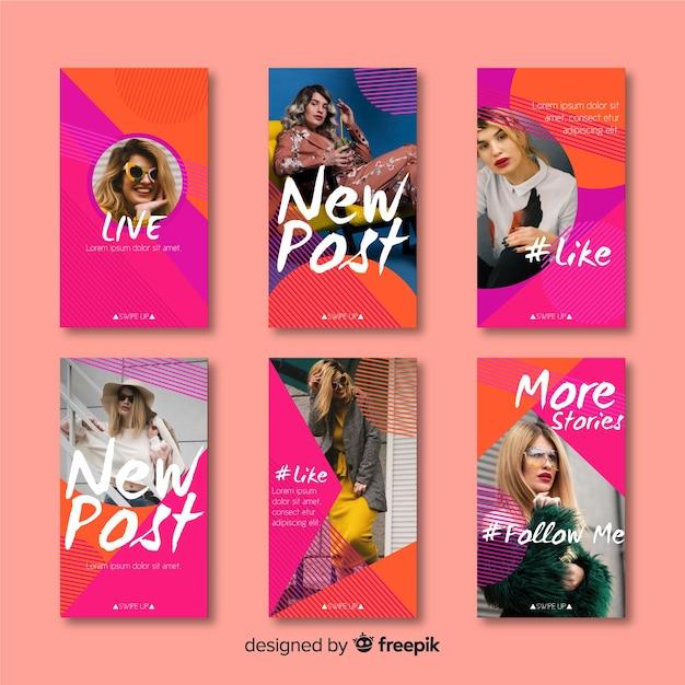 Modèle d'histoires instagram colorées abstraites Vecteur gratuit
