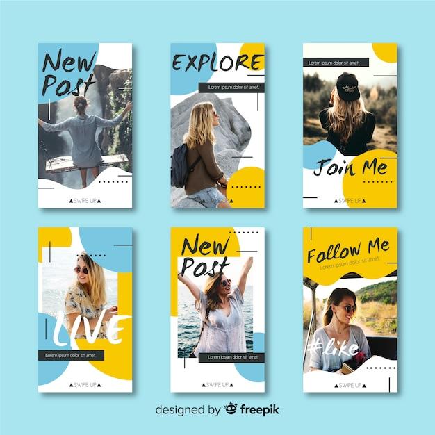 Modèle d'histoires instagram avec des formes abstraites Vecteur gratuit