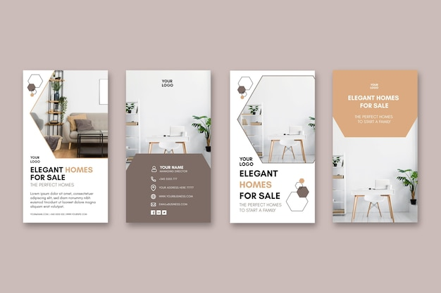 Modèle D'histoires Instagram De Maisons Modernes Vecteur Premium