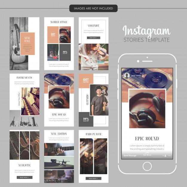 Modèle d'histoires d'instagram de musical instrument Vecteur Premium