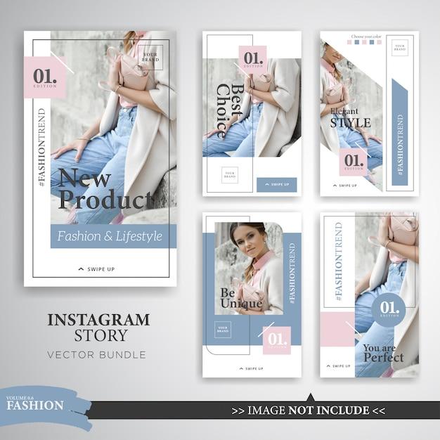 Modèle d'histoires instagram pour maquillage de mode colorée Vecteur Premium