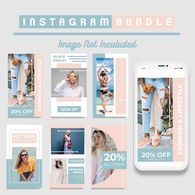 Modèle d'histoires instagram de réductions créatives Vecteur Premium