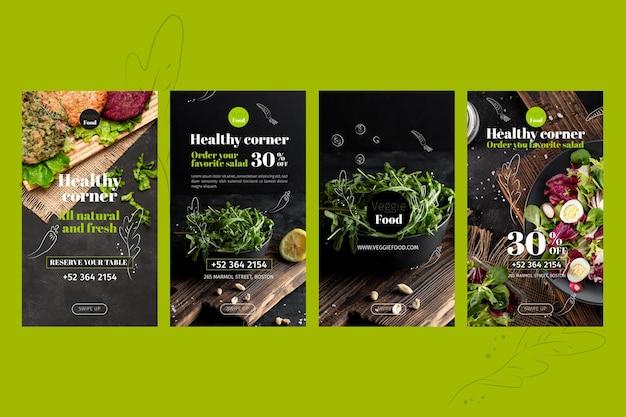 Modèle D'histoires Instagram De Restaurant Sain Vecteur gratuit