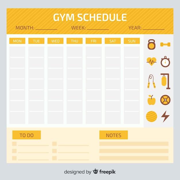 Modèle d'horaire d'entraînement Vecteur gratuit
