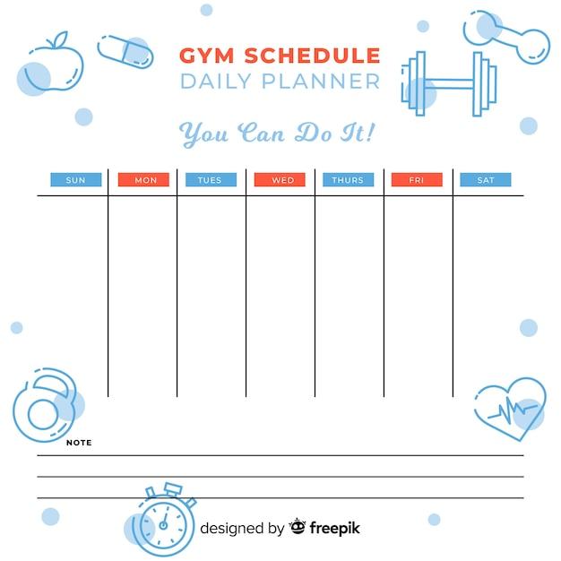 Modèle d'horaire de gym ou de fitness Vecteur gratuit