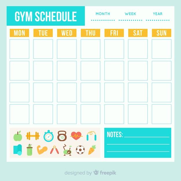 Modèle d'horaire de gym Vecteur gratuit