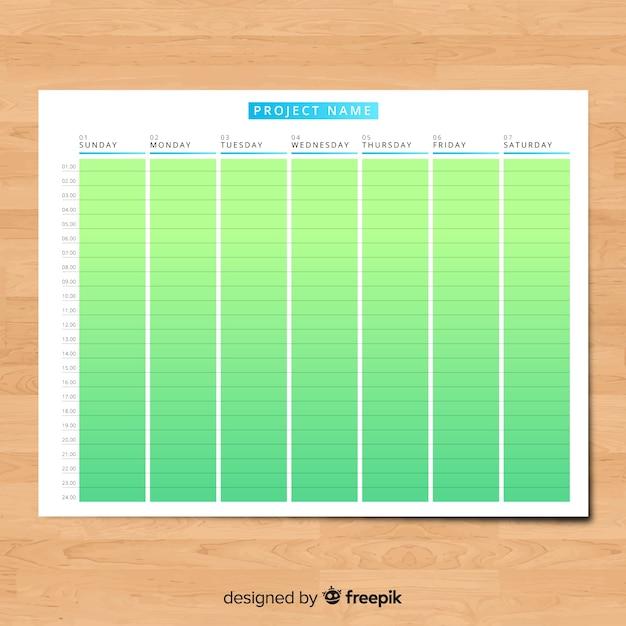 Modèle D'horaire Hebdomadaire Coloré Avec Un Design Plat Vecteur gratuit