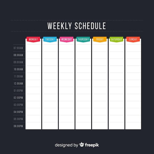 Modèle d'horaire hebdomadaire coloré avec design plat Vecteur gratuit