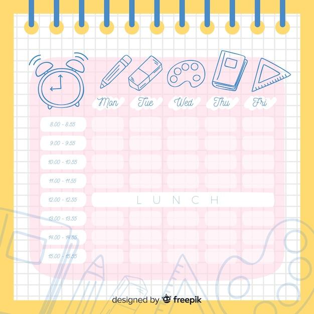 Modèle d'horaire scolaire design plat Vecteur gratuit