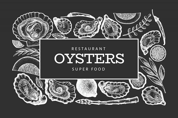 Modèle d'huîtres et d'épices. main dessinée illustration à bord de la craie. bannière de fruits de mer. peut être utilisé pour le menu, l'emballage, les recettes, l'étiquette, le marché du poisson, les produits de la mer. Vecteur Premium