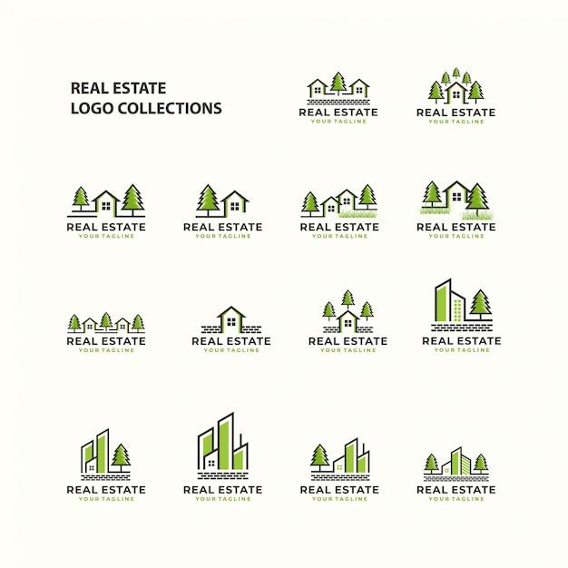 Modèle de l'icône de jeu de logo immobilier Vecteur Premium