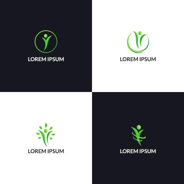 Modèle d'icône logo vie saine personnes Vecteur Premium