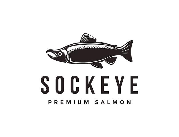 Modèle D'icône Logo Vintage Poisson Saumon Saumon Rouge Vecteur Premium