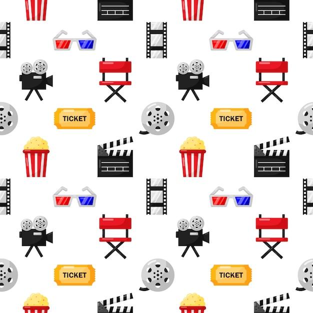 Modèle D'icônes De Cinéma Sans Soudure. Icône De Collection De Signes Et Symboles Pour Les Sites Web Avec Un Fond Blanc. Vecteur Premium