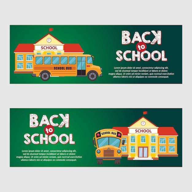 Modèle d'illustration de bannière d'autobus scolaire Vecteur Premium
