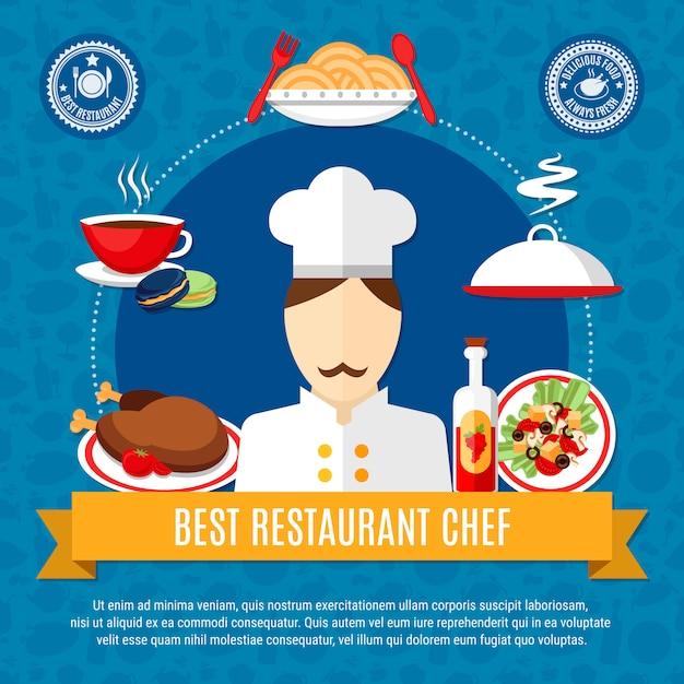 Modèle d'illustration restaurant chef Vecteur gratuit