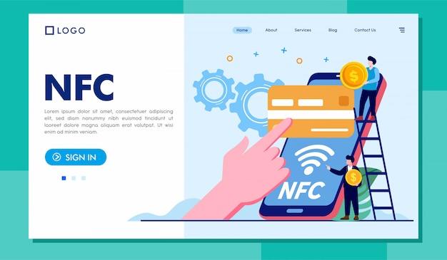 Modèle d'illustration de site web nfc landing page Vecteur Premium
