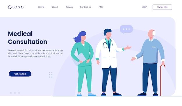 Modèle D'illustration De Site Web De Page De Destination De Consultation Médicale Vecteur Premium