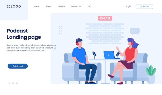 Modèle D'illustration De Site Web De Page De Destination De Podcast Vecteur Premium